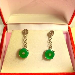 Fortune jade dangle silver tone earring